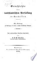 Geschichte der landständischen Verfassung in Kurhessen