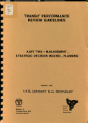 Transit Performance Review Guidelines Management Strategic Decision Making Planning