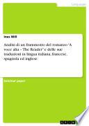Analisi di un frammento del romanzo    A voce alta     The Reader    e delle sue traduzioni in lingua italiana  francese  spagnola ed inglese