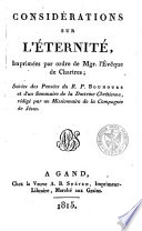Consid Rations Sur L Ternit Imprim Es Par Ordre De Mgr L V Que De Chartres