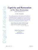 The Captivity and Restoration of Mrs  Mary Rowlandson