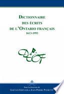 Dictionnaire des   crits de l Ontario fran  ais