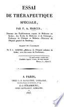 Essai de thérapeutique spéciale ... Traduit de l'allemand par E. L. Jaques ... avec des notes du traducteur