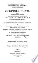 Dissertatio medica inauguralis de corpore vivo  etc