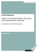 """Analyse von Friedrich Schillers """"Über naive und sentimentalische Dichtung"""""""