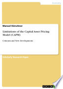 Limitations of the Capital Asset Pricing Model  CAPM