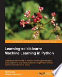Learning scikit learn  Machine Learning in Python