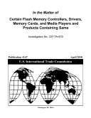 download ebook certain flash memory controllers, drivers, memory cards, and media players and products containing same, inv. 337-ta-619 pdf epub
