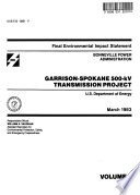 Garrison-Spokane 500 Kv Transmission Project