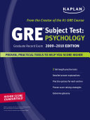 Kaplan GRE Exam Subject Test  Psychology 2009 2010 Edition