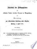Jahrbuch des Pädagogiums zum Kloster Unser Lieben Frauen in Magdeburg und Einladung zum Schulaktus