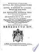 Memorie storiche civili  ed ecclesiastiche della citt    e diocesi di Larino