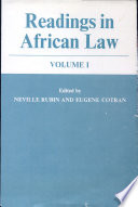 Readings in African Law  Volume 1