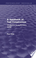 A Handbook Of Test Construction Psychology Revivals