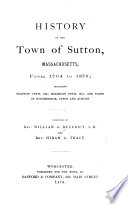 History of the Town of Sutton, Massachusetts, from 1704 to 1876