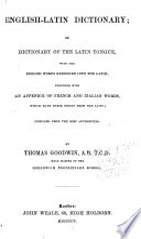 English Latin Dictionary  Or  Dictionary of the Latin Tongue