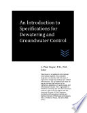 An Introduction To Specifications For Dewatering And Groundwater Control