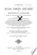 A Manual Of Rules Tables And Data For Mechanical Engineers Based On The Most Recent Investigations
