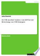 Ist CSR messbar  Analyse vom KPI bei der Bewertung von CSR Strategien