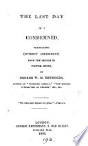 The last day of a condemned  tr  by G W M  Reynolds Book PDF