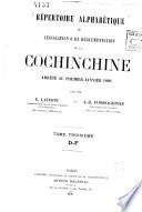 R  pertoire alphab  tique de l  gislation   de r  glementation de la Cochinchine arr  t   au premier janvier 1889