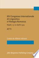 XIV Congresso Internationale di Linguistica e Filologia Romanza