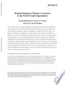 Regional Impacts of Russia s Accession to the World Trade Organization