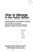 How to Manage in the Public Sector