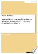 Ausgewählte Aspekte zum Controlling im russischen Kontext aus der Perspektive deutscher Unternehmen
