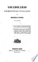 Vocabolario piemontese italiano di Michele Ponza da Cavour