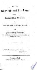 Über den Geist der Evangelischen Geschichte in historischer und ästhetischer Hinsicht
