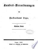 Landes-Verordnungen des Fürstenthums Lippe ...