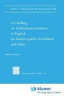 Die Stellung der Parlamentsminderheiten in England, der Bundesrepublik Deutschland und Italien