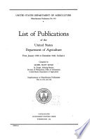 List of Publications of the United States Department of Agriculture from January 1936 to December 1940, Inclusive