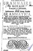 La Parfaite Grammaire Royale Fran  oise et Allemande