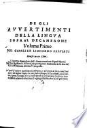 De gli Avvertimenti della lingua sopra l Decamerone  volume primo  diviso in tre libri