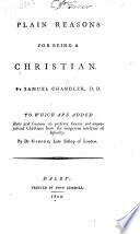 Plain Reasons For Being A Christian By Samuel Chandler D D Edited By Samuel Wright