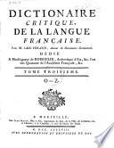 Dictionaire critique de la langue française