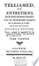 Telliamed  ou Entretiens d un philosophe indien avec un missionaire fran  ois sur la diminution de la mer