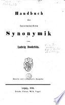 Handbuch der lateinische synonymik
