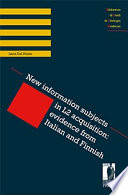 New information subjects in L2 acquisition  evidence from Italian and Finnish
