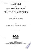 Rapport de la Commission de refonte des statuts g  n  raux de la province de Qu  bec