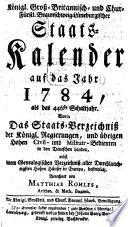 Königl.-Grossbrittannischer und Churfürstl.-Braunschweig-Lüneburgscher Staatskalender