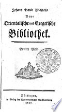 Johann David Michaelis Neue orientalische und exegetische Bibliothek