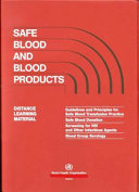 Safe Blood and Blood Products Distance Learning Material   Guidelines and Principles for Safe Blood Transfusion Practice Safe Blood Donation Screening for HIV Blood Group Serol Key Prevention Strategy In The Fight
