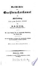 Geschichte der Buchdruckerkunst in Meklenburg bis zum Jahre 1540