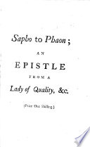 Sapho to Phaon  an Epistle from a Lady of Quality to a Noble Lord  Occasion d by the Late Publication of His Miscellaneous Thoughts