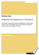 Budgeting and Management of Operations