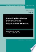 Bole English Hausa Dictionary and English Bole Wordlist