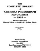 The Complete Library of American Phonograph Recordings Book PDF